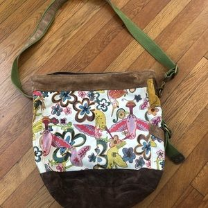 LUCKY BRAND Tote Floral Hummingbird Canvas